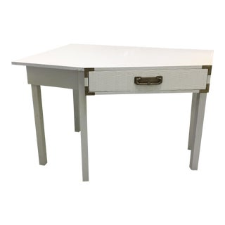 Mid-Century Campaign Style White Desk