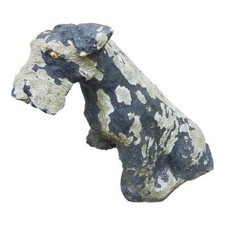 Vintage Concrete Painted Schnauzer Dog