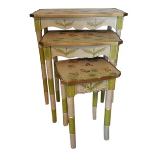 Vintage Faux Bamboo Nesting Tables - Set of 3