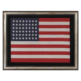 48 STARS IN DANCING ROWS, A RARE VARIETY OF ANTIQUE AMERICAN PARADE FLAG IN A LARGE SCALE, 1912-1918 OR PERHAPS EARLIER
