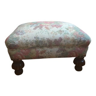 Tapestry Wood Ottoman