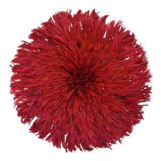 """Large 33"""" Bold Red African Feather Juju Hat Wall Hanging"""