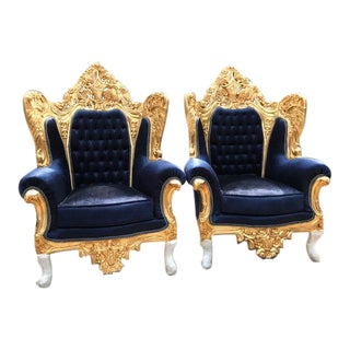 Baroque / Rococo Style Dark Blue Velvet Chairs - a Pair