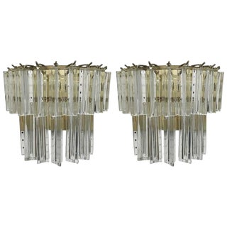 Italian Mid-Century Two-Tier Venini Murano Glass Sconces - A Pair