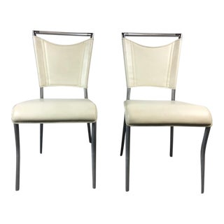 Contemporary Brushed Metal & White Leather Side Chairs - A Pair