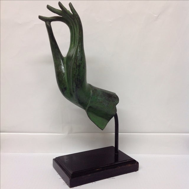 Image of Bronze Hand Sculpture With Verre De Gris Patina