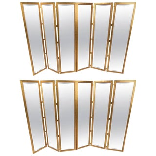 Mid-Century Modern Mirrored Three Panel Room Dividers - a Pair