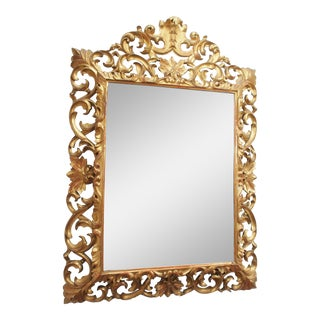 LARGE GILDED AND PIERCED CUSHION MIRROR