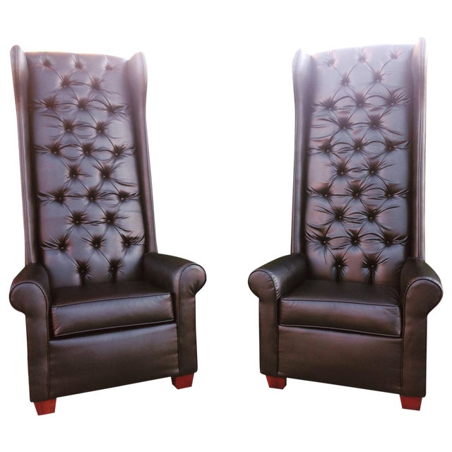 Black Tall Tufted Chairs - A Pair - Image 1 of 6