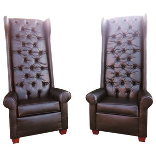 Black Tall Tufted Chairs - A Pair