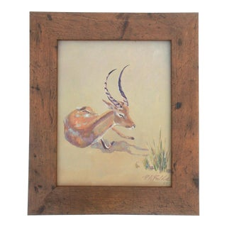 1954 Resting Antelope or Gazelle Wildlife Painting