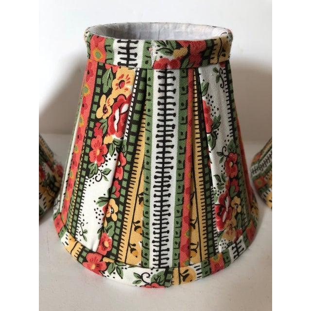 Custom Striped Floral Chandelier Shades - Set of 4 - Image 2 of 5