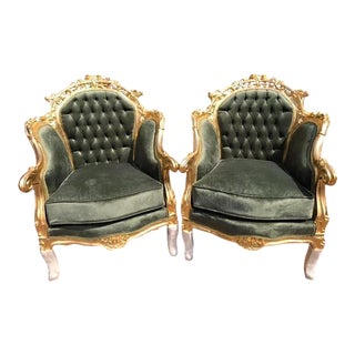 Green Velvet French Louis XVI Style Bergeres - A Pair