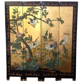 Asian Style 4 Panel Bird Gilded Screen
