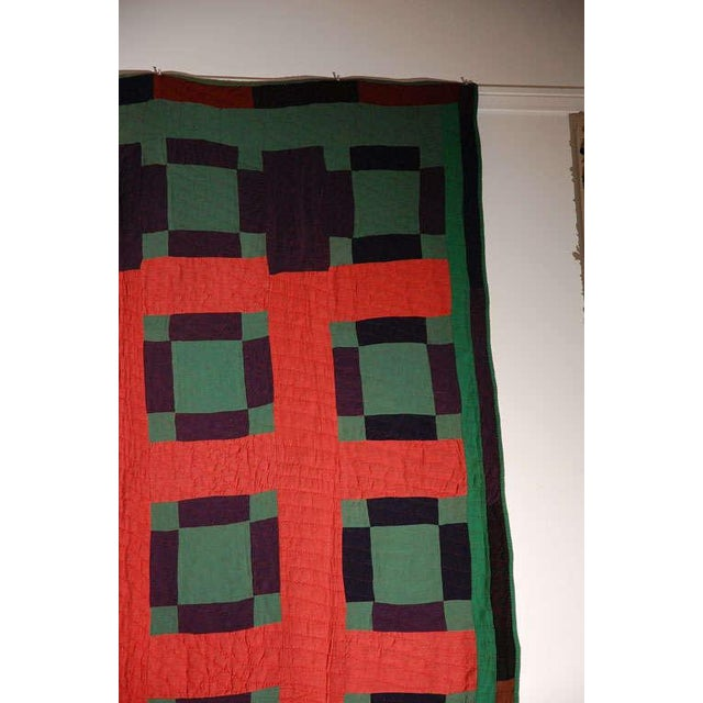 Early 20thc Amish Nine Patch Wool Quilt From Pennsylvania - Image 4 of 9