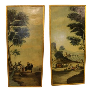 Antique French Oil Paintings - A Pair