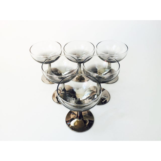 Mid Century Silver Ombre Coupe Cocktail Glasses - Set of 6 - Image 3 of 5