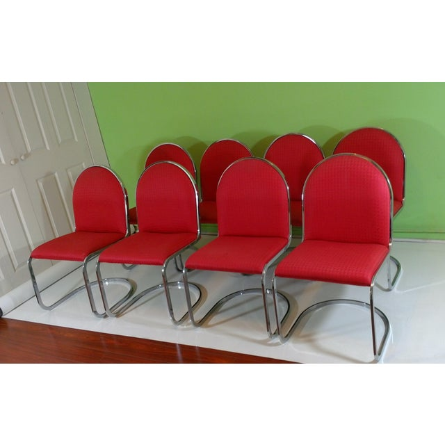 Chrome Red Upholstered Dining Chairs - Set of 8 - Image 2 of 11