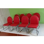 Image of Chrome Red Upholstered Dining Chairs - Set of 8