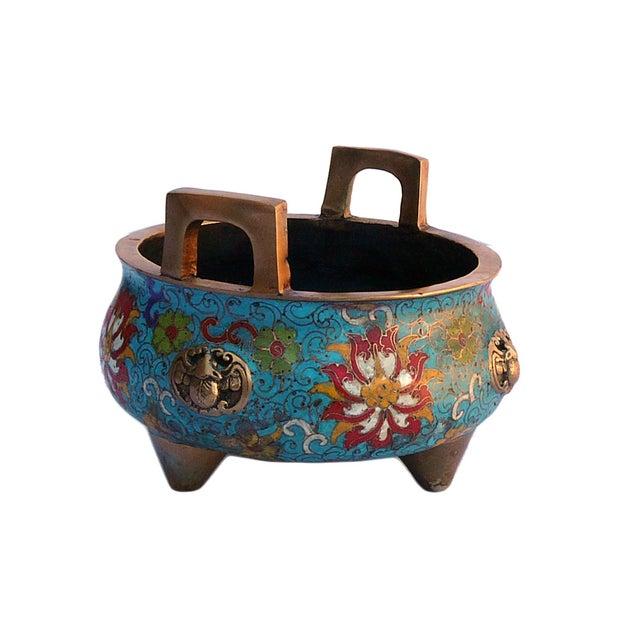 Bronze Turquoise Cloisonne Tri-Leg Incense Burner - Image 2 of 5