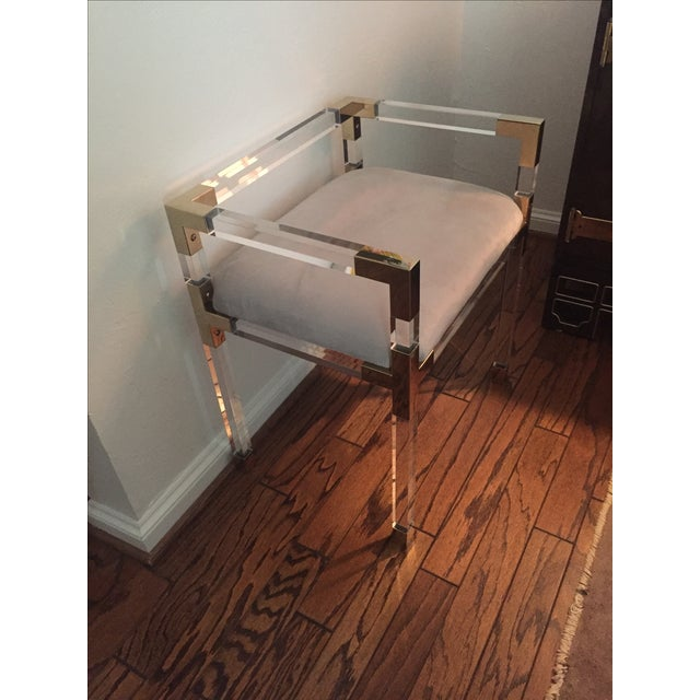Adler Style 'Jacques' Lucite & Brass Chair Stool - Image 3 of 9