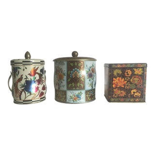 English Floral Metal Tea Tins - Set of 3