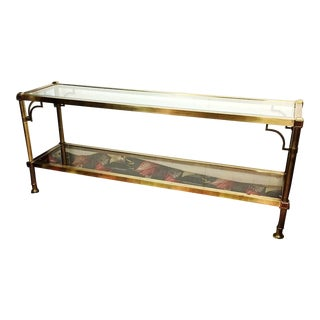 Hollywood Regency Brass & Glass Console Sofa Table