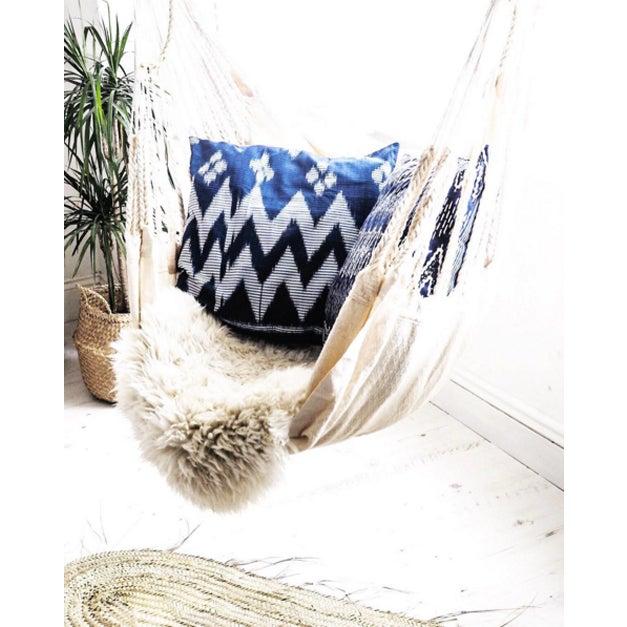 """Java Ripples"" Indigo Handwoven Ikat Pillow Cover - Image 2 of 5"