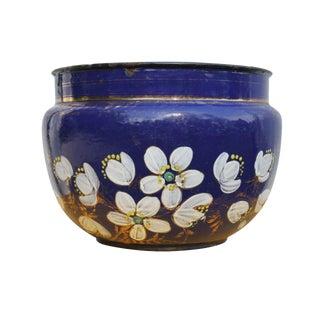 Blue Enamel Blossom Urn
