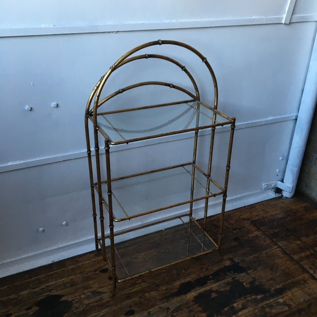 Gold Faux Bamboo Three Tiered Shelf - Image 5 of 7