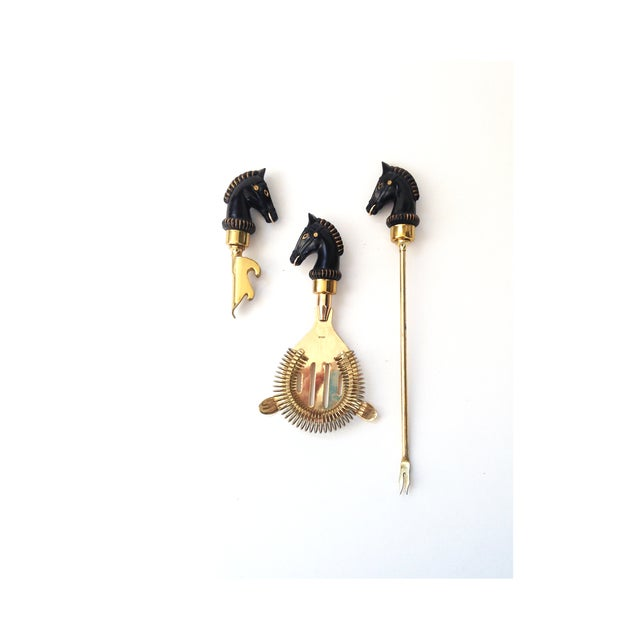 Image of Vintage Horse Head Brass Bar Tools - 3 Piece Set