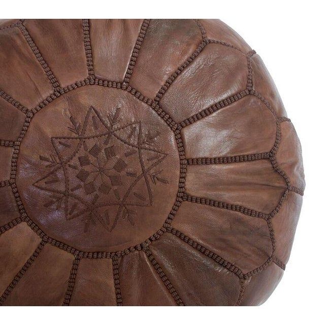 Brown Moroccan Leather Pouf - Image 2 of 3