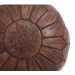Image of Brown Moroccan Leather Pouf