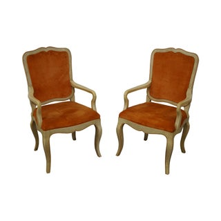 Paint Frame French Country Style Arm Chairs - Pair