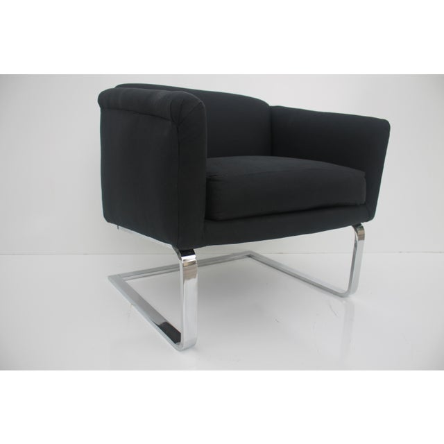 Italian Vintage Flat Bar Chrome Accent Chair - Image 2 of 11