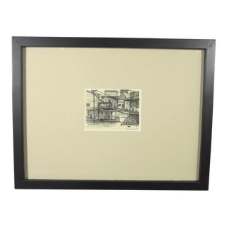 Rex Hall Miniature Small Town Scene Lithograph