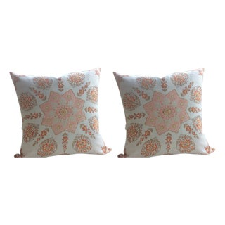 "Quadrille ""Persepolis"" Pillows in Custom Melon on Camel Tint - a Pair"