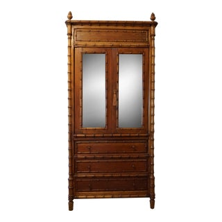 English Faux Bamboo Art Deco Armoire