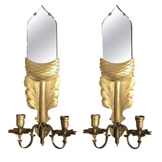 Chapman Brass Mirror Wall Sconces - A Pair