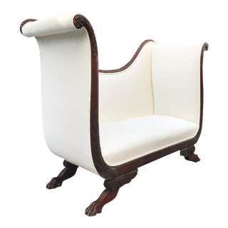 Tall Back Loveseat with Carved Mahogany Base