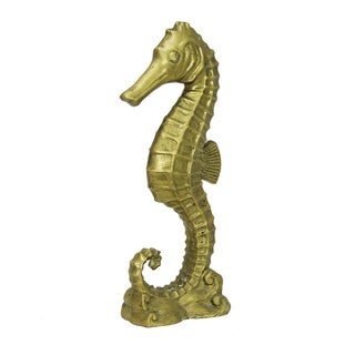 Large Hollywood Regency Brass Seahorse