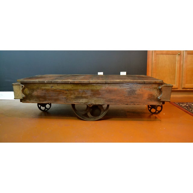 Antique Industrial Cart Coffee Table: Vintage Industrial Railroad Cart Coffee Table