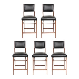 Set of 5 Maze Walnut Counter Stools