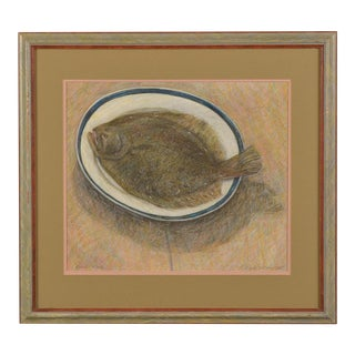 """Platter Fish"" oil pastel and pencil on paper by English artist Robert Jones dated 1985 in lower right corner."