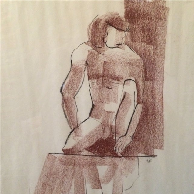 Vintage Charcoal Nude Male Drawing - Image 3 of 5
