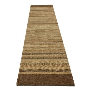 Persian Gabbeh Striped Design Wool Hand Knotted Runner Rug - 2′6″ × 9′11″
