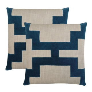 "Piper Collection Blue Velvet ""Catie"" Pillows - a Pair"