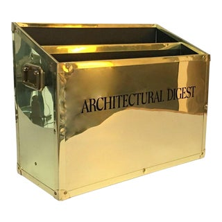 Vintage Architectural Digest Brass Campaign Magazine Holder