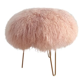 Genuine Blush Mongolian Lambs Wool Stool