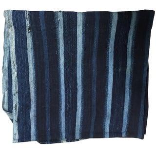 Vintage Indigo Striped Mud Cloth Textile